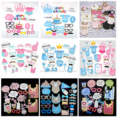 Baby Shower Photo Booth Props Cute Girl Boy 1st First Birthday Party Photography