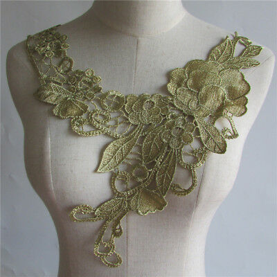 NEW Gold Floral Lace Collar - Embroidered Applique Neck Trim YL198