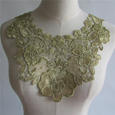 3D Gold Flower Neckline Collar Floral Embroidered Patch Lace Applique YL187
