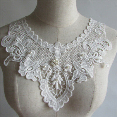 high quality White Guipure Venice Lace Collar Bodice Applique Patch YL126
