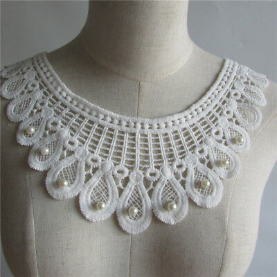 white beads embroidery lace collar craft sewing clothing accessory YL116