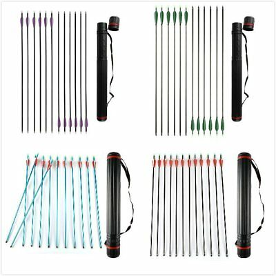 12 x 30'' Archery Arrows For Recurve Compound Bow With Stretchable PE Quiver