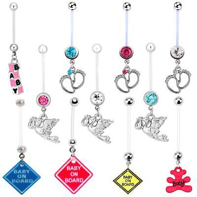 Gems Baby Feet Crane Maternity Navel Ring Pregnantcy Belly Button Ring Flexible