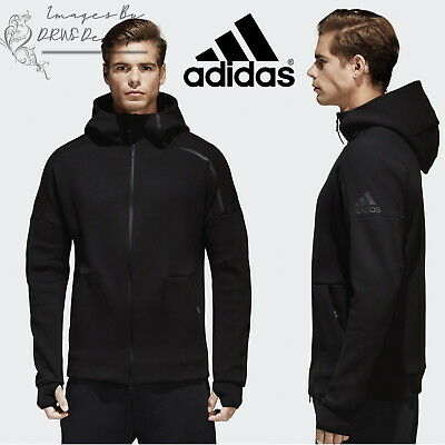 adidas Z.N.E Men's Track Hoodie ZNE Black Sports Hooded Full Zip Sweatshirt