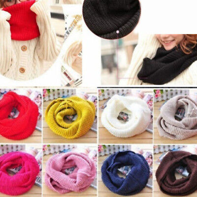 Gift Soft Long Infinity Women Men Warm Shawl Neck Warmer Knitted Scarf