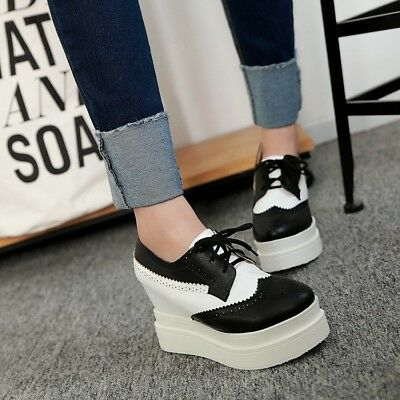 137df2cab8f3a Womens Oxfords Wedge Mid Heels Platform Gothic Lady Lace up Brogue Creeper  Shoes