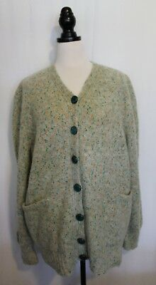 VINTAGE 1970's ~ Mint Green w Orange Flecked Boucle Wool Chunky Knit Cardigan 18
