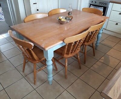 A Beautiful Large Solid Pine Country House Kitchen Table With 6 Beech Chairs