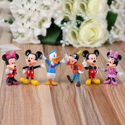 Disney Studio Mickey Mouse Clubhouse Minnie Donald Figure Toys Cake Toppers 6Pcs