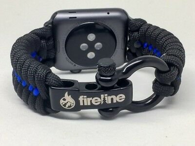 (Large, Thin Blue Line) - FIRELINE Apple Watch Band 42mm Replacement Paracord