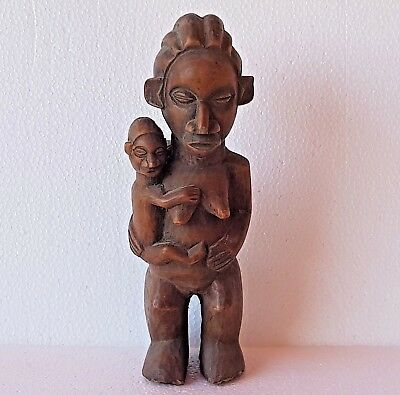 Rare Antique African Hand Carved Wood Tribal Maternity Statue. Yaka People Congo