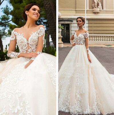 White Ivory Lace Vintage Wedding Dresses Bridal Gown Sweetheart Neck Long Sleeve