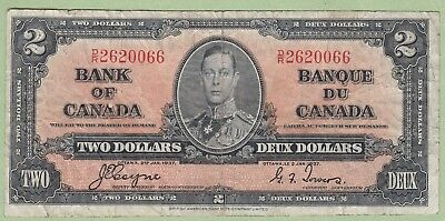 1937 Bank of Canada 2 Dollar Note - Coyne/Towers - D/R2620066 - Fine