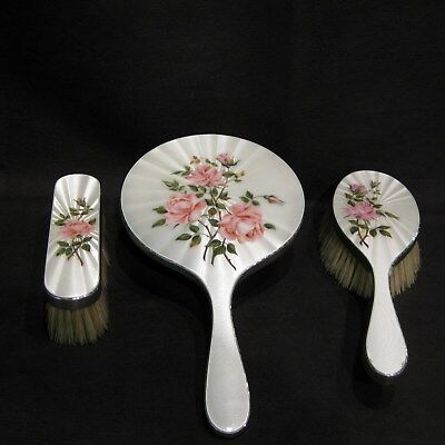 Antique Silver and enamel dressing table set