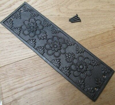 Cast Iron Decorative Ornate Vintage Old Finger Plate Door Push Plate