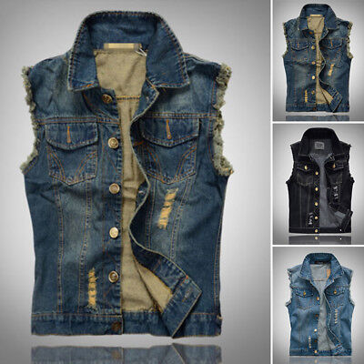 Uomo jeans-weste Giacca in jeans gilet senza maniche vintage punk