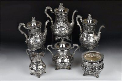 Bailey & Co. American Coin Silver Tea Set 196.7 Troy Oz with Chinoiserie Finials
