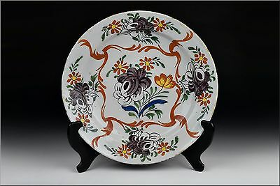 18th Century Delft Art Pottery Polychrome Painted Charger w/ Flowers