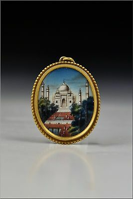 19th Century 14 Karat Gold Pendant w/ Miniature Painting of Taj Mahal