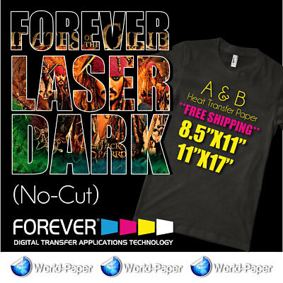 Forever Laser Dark-No-Cut A-FOIL + B-PAPER Heat-Transfer-Paper Self-Weeding HTV
