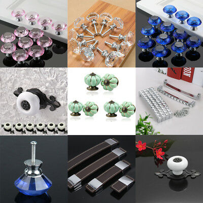 Diamond Glass Crystal Drawer Knob Lot Retro Ceramic Cabinet Wardrobe Door Handle