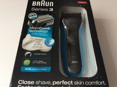Braun Series 3 3010BT 3-in-1 Electric Cordless Wet and Dry Shaver for Men wit...