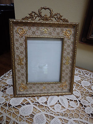 Antique French Empire Style Dore Bronze Easel Back Picture Frame