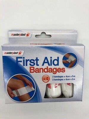 Masterplast Pack Of 4 First Aid Bandages Gauze Plaster For Cuts Wounds MP1019