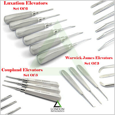 12Pcs Luxation Instruments Tooth Extraction Dental Surgical Root Elevators Lab