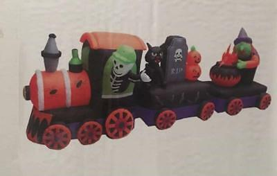 Halloween Airblown Inflatable Train With Tombstone, Witch, and Cauldron