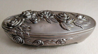 Vintage Silver Plated Jewlery Box with Roses