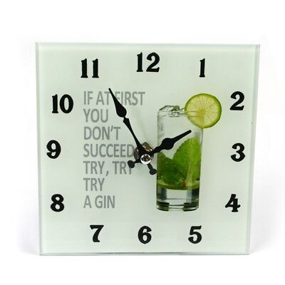 """Gin & Tonic Novelty Glass Wall Clock """"If at first you don't suceed... """" Bar"""