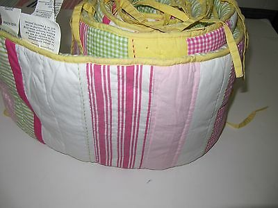 Pottery Barn Kids Crib Bumper  Yellow,Pink,Green Gingham  Very Nice Condition