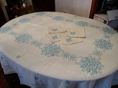 Vintage stunning Linen with Aqua, Turquoise color hand cross stitch tablecloth