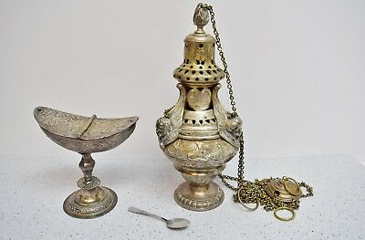 + Nice Antique 1800s Church Censer (Thurible) with Boat & Spoon + (CU476)