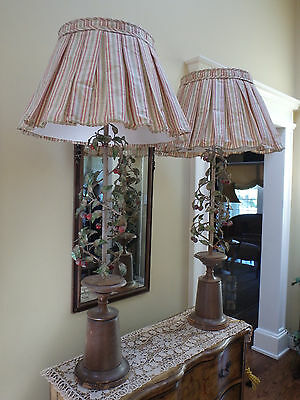 Vintage Extra Tall Rare Pair of Exceptional Italian Tole Cherry Lamps