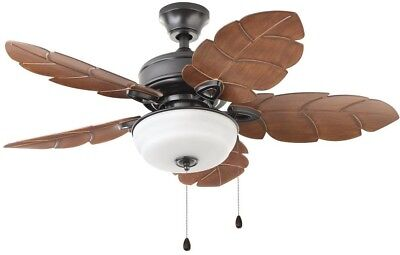 Tropical Style Indoor Outdoor Ceiling Fan 44 In Palm Leaf Blades Bowl Light
