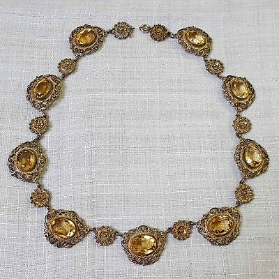 VINTAGE SPANISH NECKLACE OR CHOKER TOPAZ GOLD WASHED SILVER FILIGREE c. 1920s