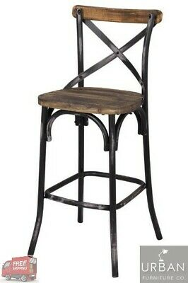 Industrial Metal Barstool Antique Wood Steel High Chair Kitchen Dining Rustic