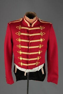Vtg 1960s 60s Marching Band Red Uniform Jacket sz 34 Reg #4423 Brass Buttons