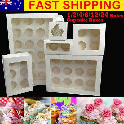 Premium Cupcake Box Cases 2 hole 4 6 hole 12 hole 24 hole Window Face Gift Party