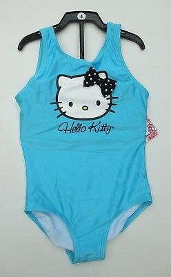 Girls HELLO KITTY Swimsuit One Piece CAT Swimming Costume Blue Ages 4 5 6 7 8