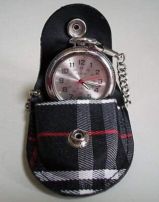 Men's  Clip On Black Leather Band Fabric Cover Pouch/Silver Tone Pocket Watch