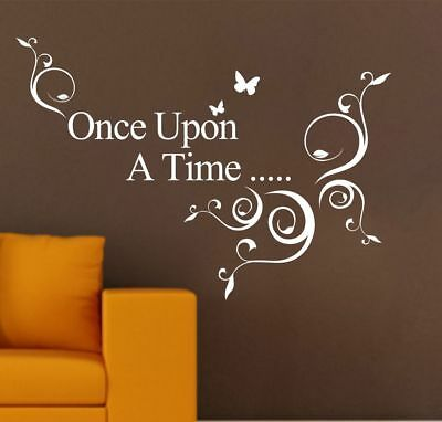 Once Upon A Time Vine Quote Wall Stickers Removable Kids Decor Room