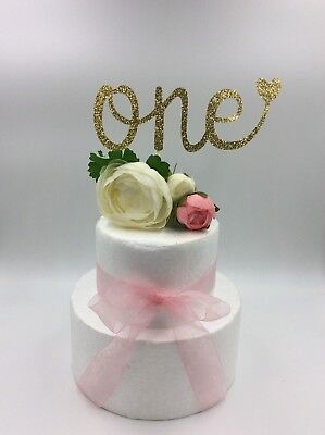 1Pc Cake Topper  One Love Baby Girl Boy Glitter Gold Silver Pink Birthday Party