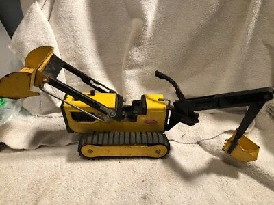 Vintage TONKA  70's?  Yellow Bull Dozer w/ Back Hoe T-6 for parts or restore