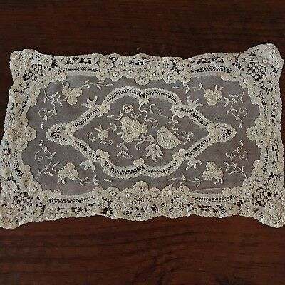 Vintage French Princess lace Small Centerpiece white embroidery 11 x 16