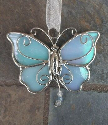 Vintage IRREDESCENT Stained Glass BUTTERFLY Window Hanging SUN CATCHER Lot#101
