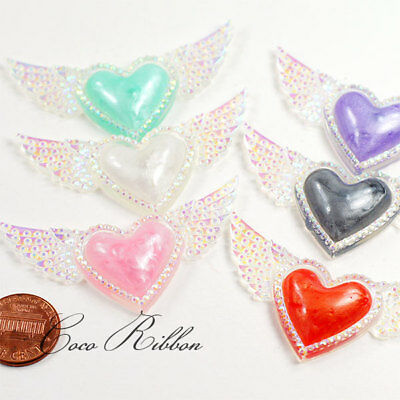 12pc 58mm Mix AB Color Faux Rhinestone Heart Wing Flatback Resin Cabochon C21