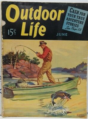 Vintage Outdoor Life magazine June 1940 Bass Fishing cover Camel Ad Back